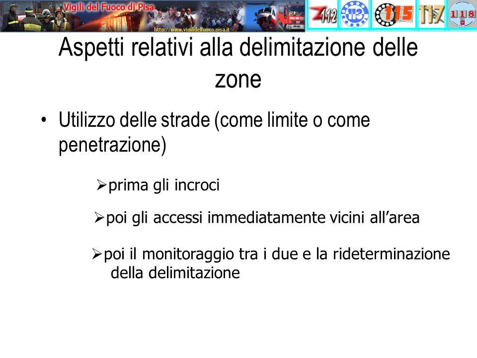 Aspetti relativi alla delimitazione delle zone Utilizzo delle strade (come limite o come penetrazione)  prima gli incroci  poi gli accessi immediatamente vicini all'area  poi il monitoraggio tra i due e la rideterminazione della delimitazione