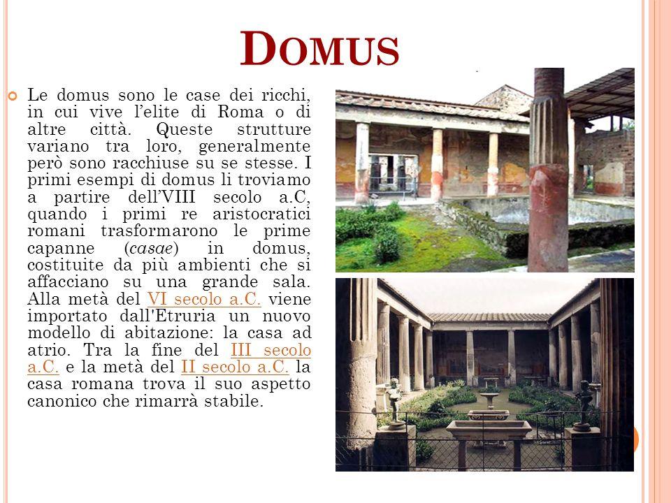 D OMUS Le domus sono le case dei ricchi, in cui vive l'elite di Roma o di altre città. Queste strutture variano tra loro, generalmente però sono racch