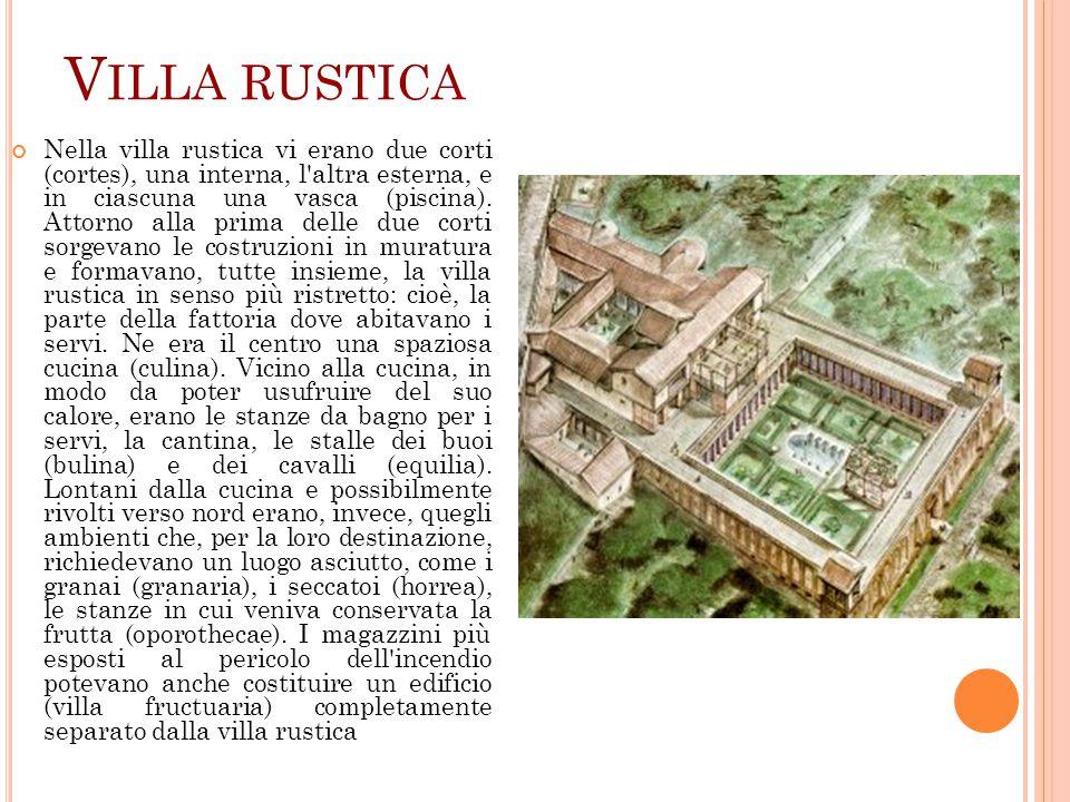 V ILLA RUSTICA Nella villa rustica vi erano due corti (cortes), una interna, l'altra esterna, e in ciascuna una vasca (piscina). Attorno alla prima de