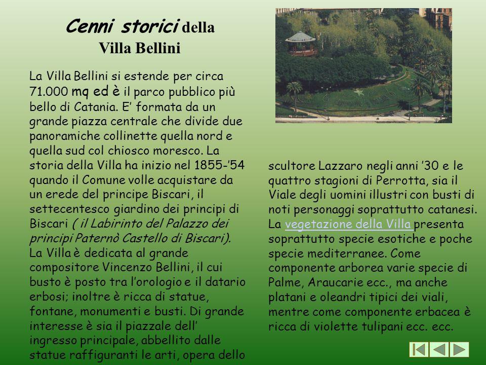 Cenni storici della Villa Bellini La Villa Bellini si estende per circa 71.000 mq ed è il parco pubblico più bello di Catania. E' formata da un grande