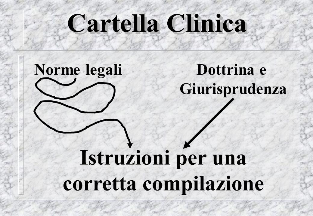 Cartella Clinica Istruzioni per una corretta compilazione Norme legaliDottrina e Giurisprudenza