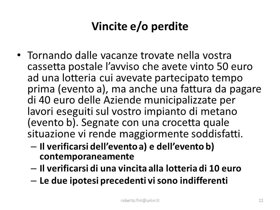 Vincite e/o perdite Tornando dalle vacanze trovate nella vostra cassetta postale l'avviso che avete vinto 50 euro ad una lotteria cui avevate partecip