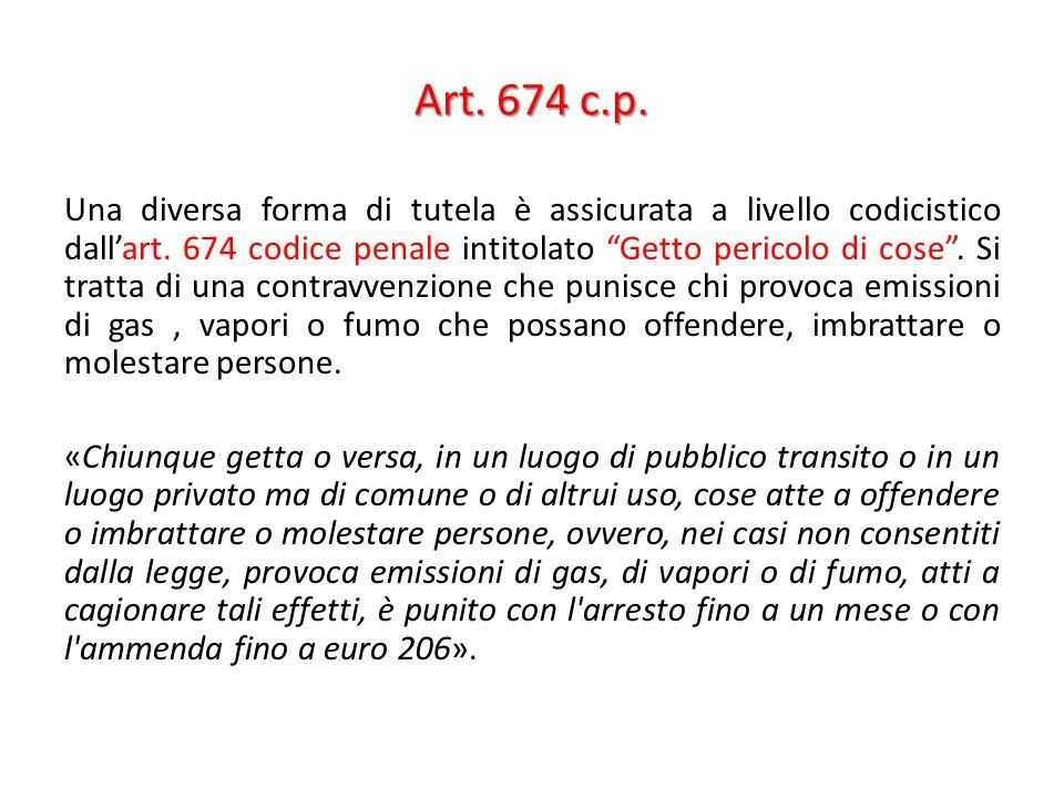 """Art. 674 c.p. Una diversa forma di tutela è assicurata a livello codicistico dall'art. 674 codice penale intitolato """"Getto pericolo di cose"""". Si tratt"""