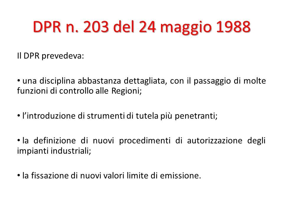 DPR n. 203 del 24 maggio 1988 Il DPR prevedeva: una disciplina abbastanza dettagliata, con il passaggio di molte funzioni di controllo alle Regioni; l