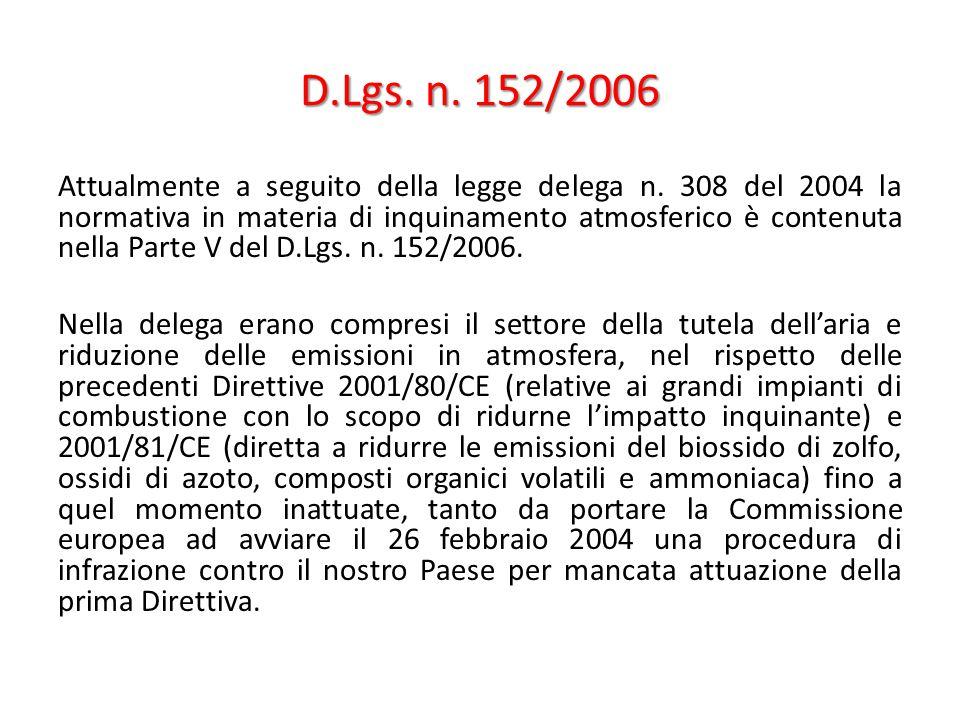 D.Lgs. n. 152/2006 Attualmente a seguito della legge delega n. 308 del 2004 la normativa in materia di inquinamento atmosferico è contenuta nella Part