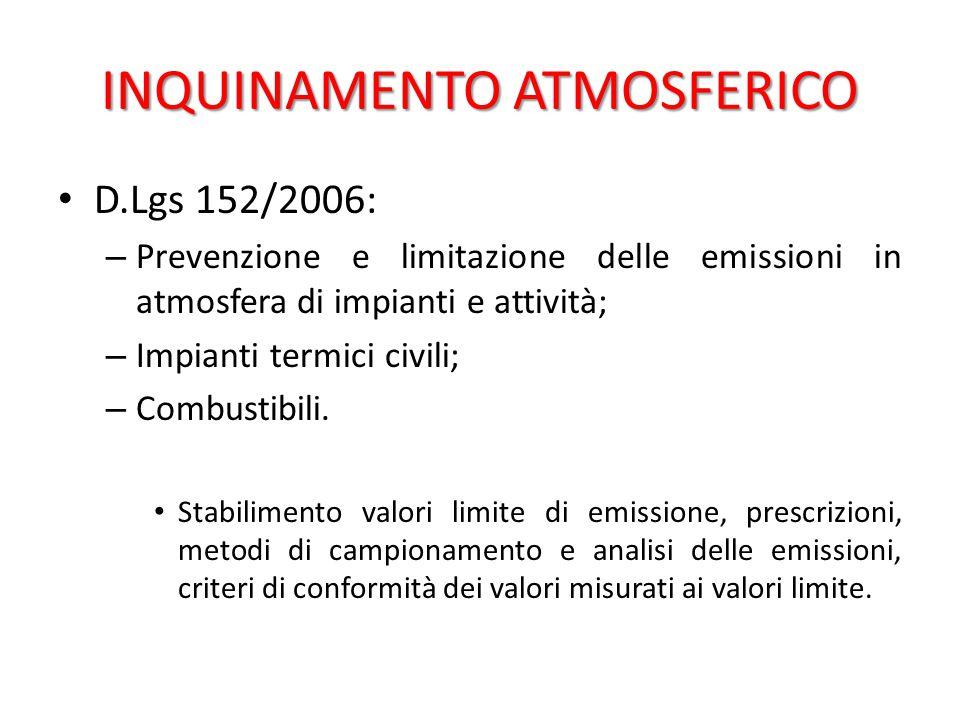 INQUINAMENTO ATMOSFERICO D.Lgs 152/2006: – Prevenzione e limitazione delle emissioni in atmosfera di impianti e attività; – Impianti termici civili; –