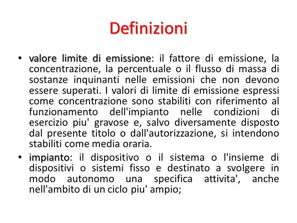 Definizioni valore limite di emissione valore limite di emissione: il fattore di emissione, la concentrazione, la percentuale o il flusso di massa di