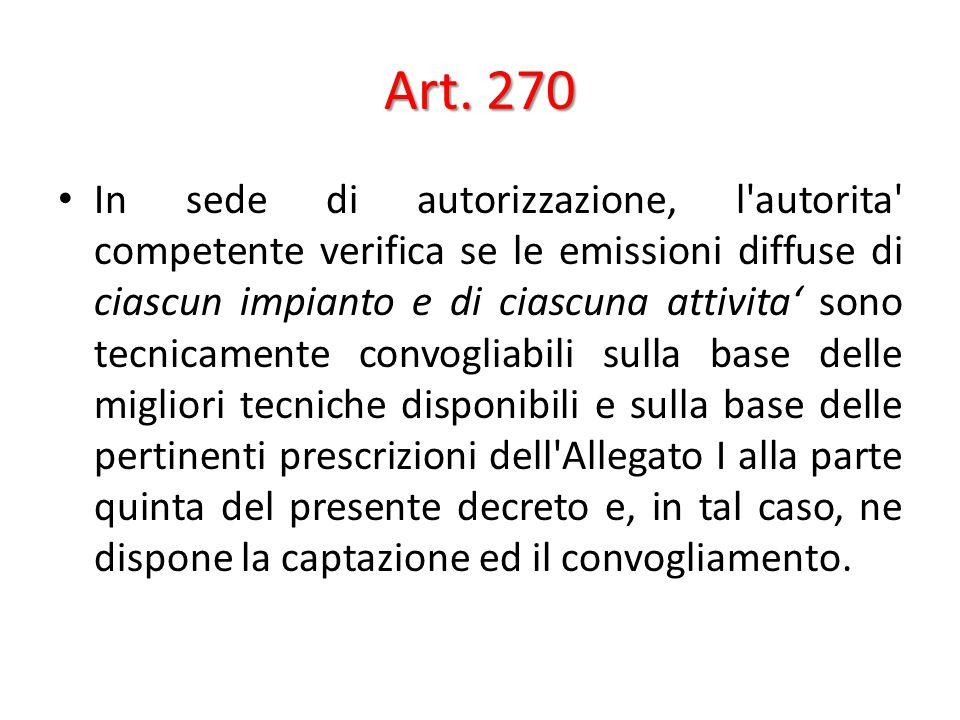 Art. 270 In sede di autorizzazione, l'autorita' competente verifica se le emissioni diffuse di ciascun impianto e di ciascuna attivita' sono tecnicame