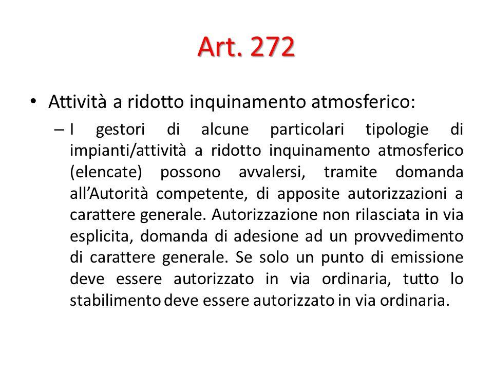 Art. 272 Attività a ridotto inquinamento atmosferico: – I gestori di alcune particolari tipologie di impianti/attività a ridotto inquinamento atmosfer