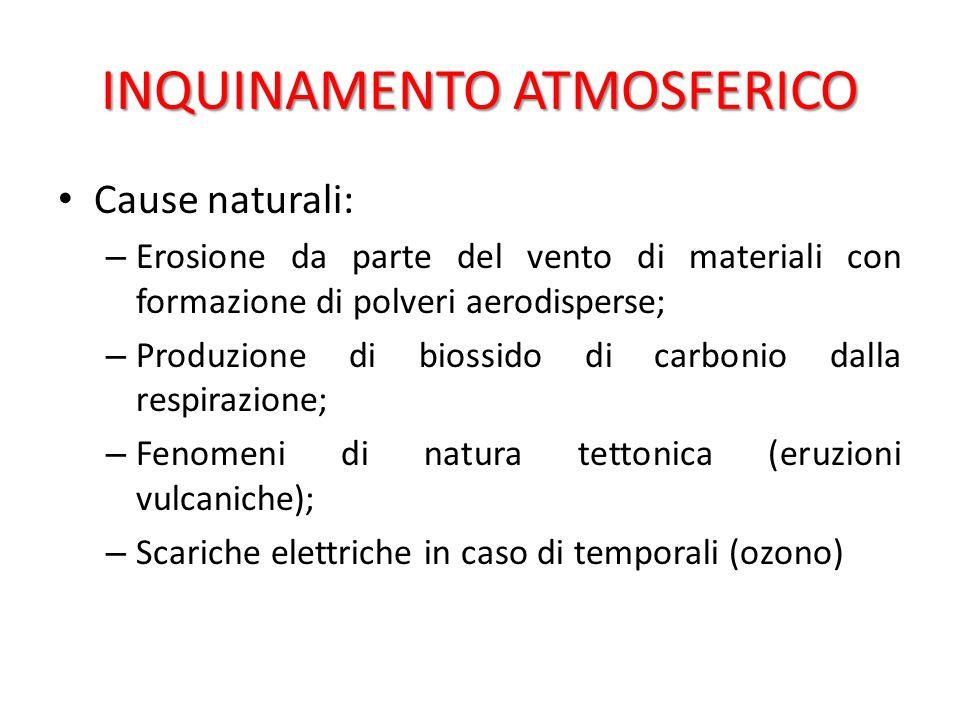 INQUINAMENTO ATMOSFERICO Cause antropiche: industria.