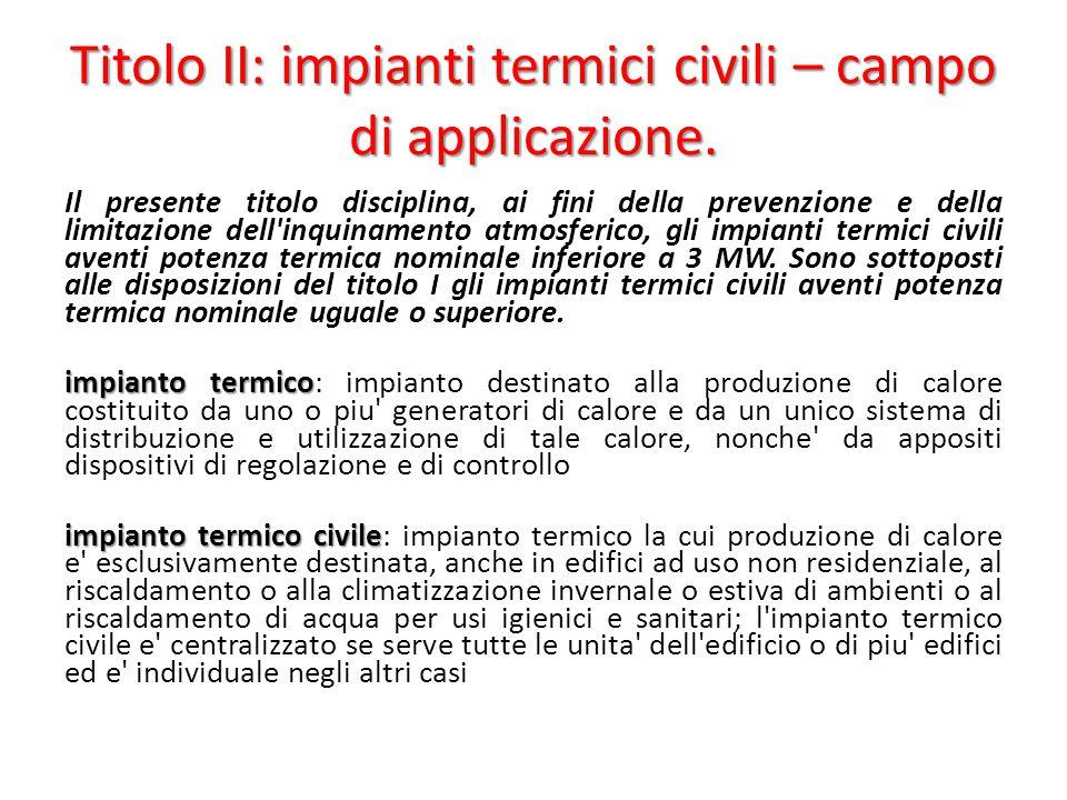 Titolo II: impianti termici civili – campo di applicazione. Il presente titolo disciplina, ai fini della prevenzione e della limitazione dell'inquinam