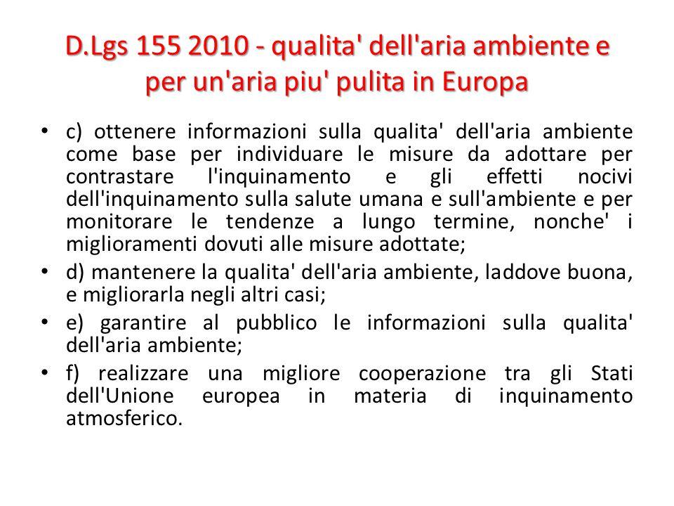 D.Lgs 155 2010 - qualita' dell'aria ambiente e per un'aria piu' pulita in Europa c) ottenere informazioni sulla qualita' dell'aria ambiente come base