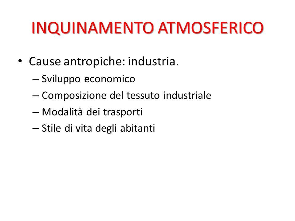 INQUINAMENTO ATMOSFERICO Cause antropiche: industria. – Sviluppo economico – Composizione del tessuto industriale – Modalità dei trasporti – Stile di