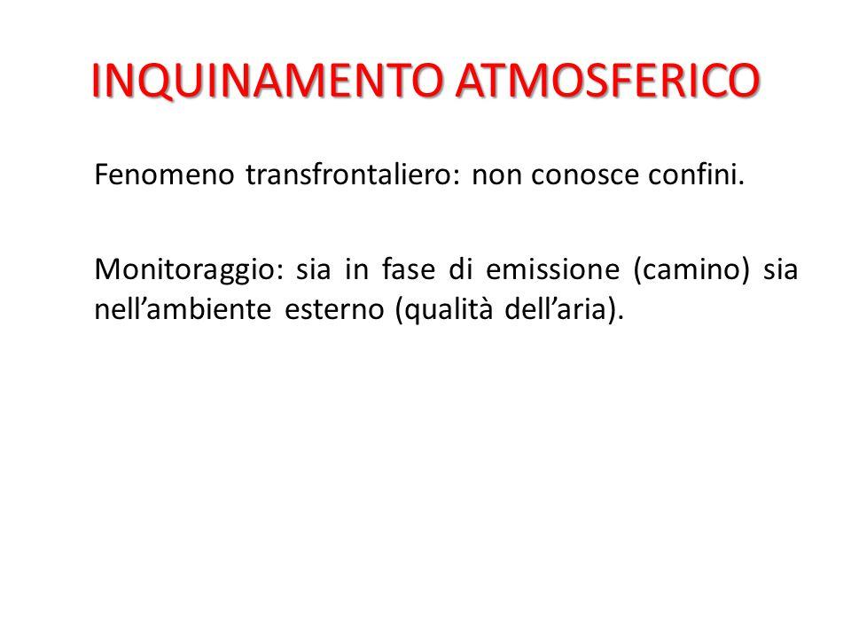 INQUINAMENTO ATMOSFERICO L'inquinamento atmosferico è cronologicamente il primo settore nel quale si è intervenuti con una specifica legge ambientale, la legge n.