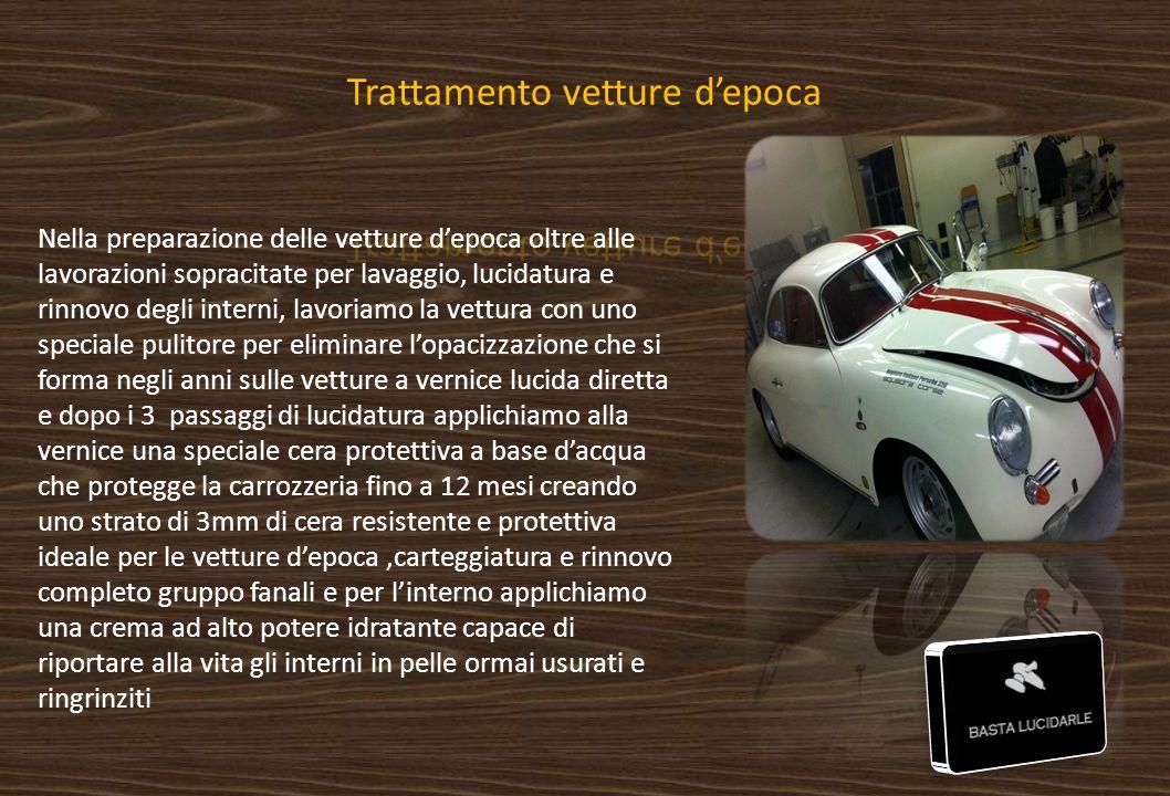 Nella preparazione delle vetture d'epoca oltre alle lavorazioni sopracitate per lavaggio, lucidatura e rinnovo degli interni, lavoriamo la vettura con