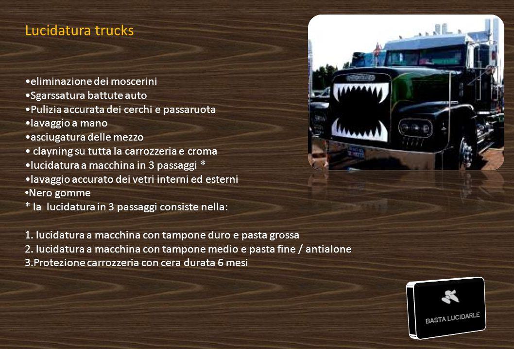 Lucidatura trucks eliminazione dei moscerini Sgarssatura battute auto Pulizia accurata dei cerchi e passaruota lavaggio a mano asciugatura delle mezzo
