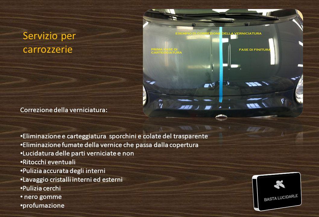 Servizio per carrozzerie Correzione della verniciatura: Eliminazione e carteggiatura sporchini e colate del trasparente Eliminazione fumate della vern