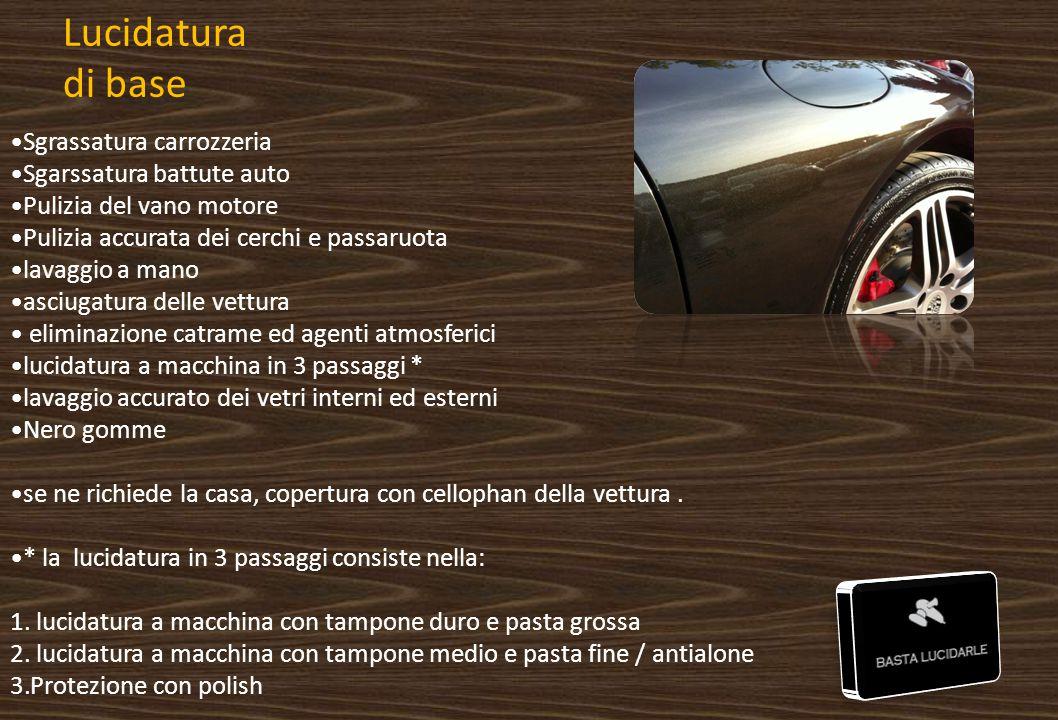Lucidatura di base Sgrassatura carrozzeria Sgarssatura battute auto Pulizia del vano motore Pulizia accurata dei cerchi e passaruota lavaggio a mano a