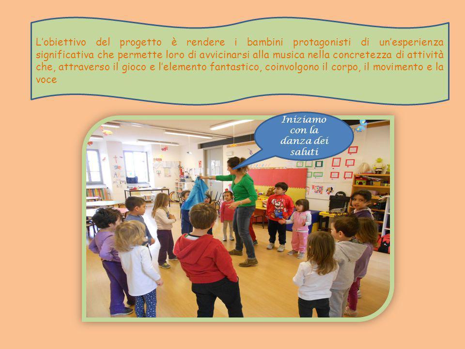 Iniziamo con la danza dei saluti L'obiettivo del progetto è rendere i bambini protagonisti di un'esperienza significativa che permette loro di avvicinarsi alla musica nella concretezza di attività che, attraverso il gioco e l'elemento fantastico, coinvolgono il corpo, il movimento e la voce