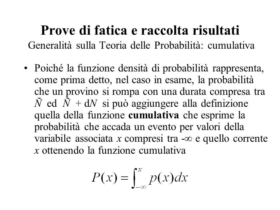 Prove di fatica e raccolta risultati Generalità sulla Teoria delle Probabilità: cumulativa Poiché la funzione densità di probabilità rappresenta, come prima detto, nel caso in esame, la probabilità che un provino si rompa con una durata compresa tra Ñ ed Ñ + dN si può aggiungere alla definizione quella della funzione cumulativa che esprime la probabilità che accada un evento per valori della variabile associata x compresi tra -∞ e quello corrente x ottenendo la funzione cumulativa