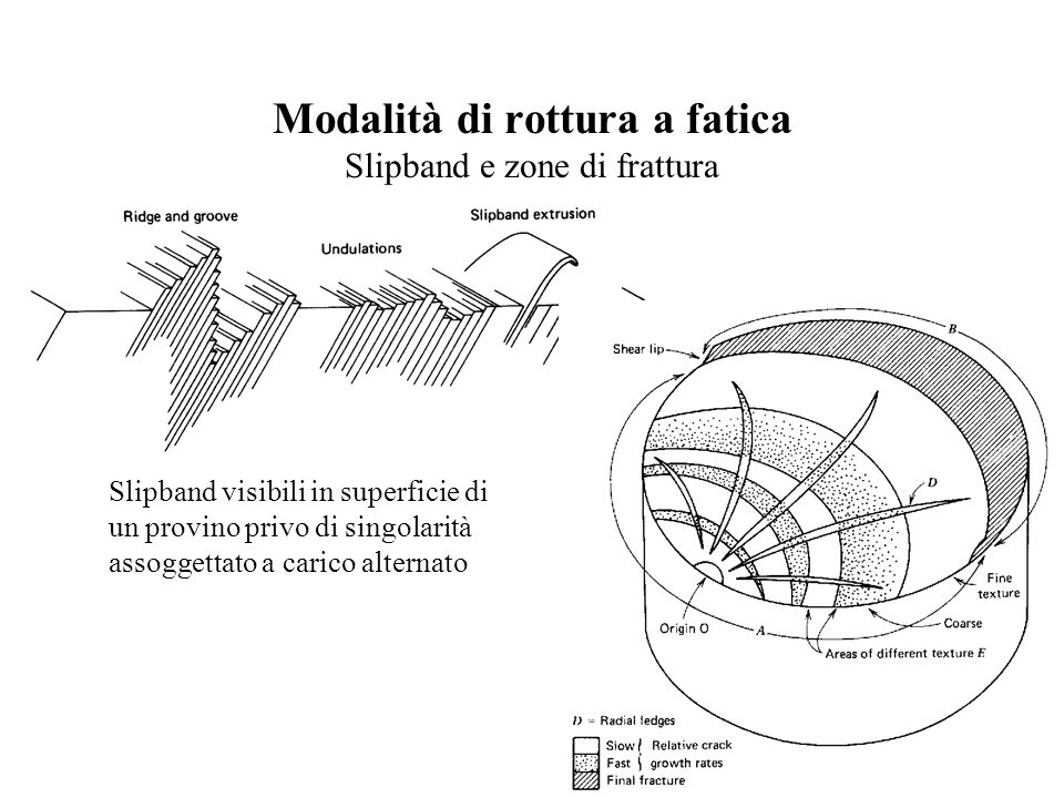 Modalità di rottura a fatica Slipband e zone di frattura Slipband visibili in superficie di un provino privo di singolarità assoggettato a carico alternato