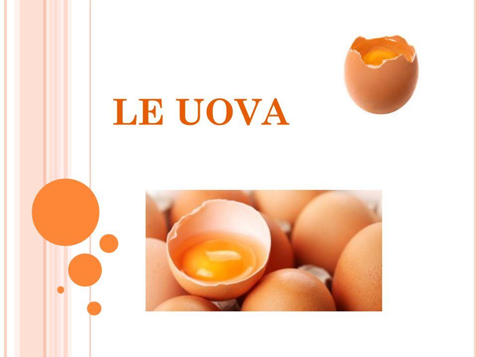 UOVA Un uovo di gallina pesa in media 60g Sono prodotte da animali ovipari Il 90% delle uova utilizzate in cucina sono di gallina Sono solitamente prodotte negli allevamenti intensivi Sono ricche di proteine ad altissimo valore biologico Sono composte da : 10% guscio 30% tuorlo 60% albume Vanno conservate a + 4c° per non piu' di 3 settimane Sono suddivise in 4 categorie di peso : 1= Pesano più di 73 g = XL 2= Pesano da 65 a 73 g = L 3= Pesano da 53 s 65 g = M 4= Pesano meno di 53 g = S