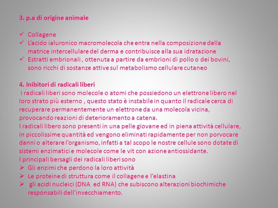 3. p.a di origine animale Collagene L'acido ialuronico macromolecola che entra nella composizione della matrice intercellulare del derma e contribuisc