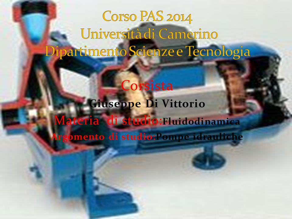Corsista Giuseppe Di Vittorio Materia di studio: Fluidodinamica Argomento di studio:Pompe idrauliche