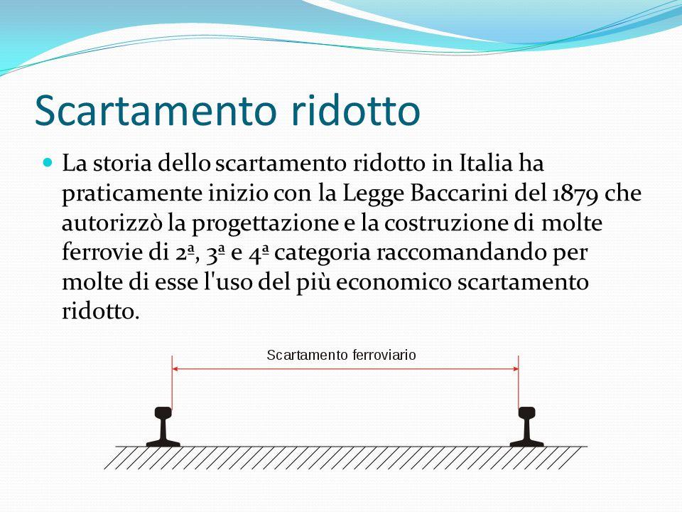 Scartamento ridotto La storia dello scartamento ridotto in Italia ha praticamente inizio con la Legge Baccarini del 1879 che autorizzò la progettazione e la costruzione di molte ferrovie di 2ª, 3ª e 4ª categoria raccomandando per molte di esse l uso del più economico scartamento ridotto.
