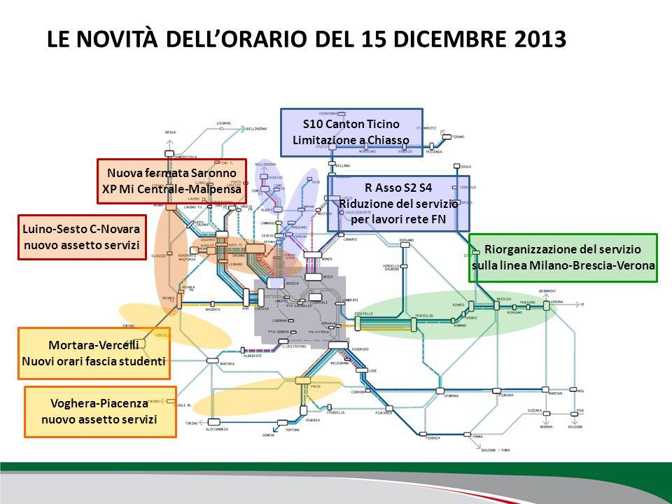 LE NOVITÀ DELL'ORARIO DEL 15 DICEMBRE 2013 Mortara-Vercelli Nuovi orari fascia studenti Voghera-Piacenza nuovo assetto servizi S10 Canton Ticino Limit