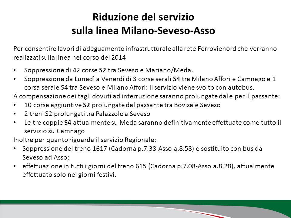 Revisione del servizio nel periodo di festività natalizie Soppressione di alcune corse di rinforzo sulle linee, limitatamente al periodo 25 dicembre 2013 al 6 gennaio 2014 (si vanno ad aggiungere alla normale compattazione natalizia): R Piacenza-Codogno-Milano: treni 20406, 20400, 20403, 20410, 20425 R Chiasso-Como-Milano: treni 10837, 10840 RE Lecco-Milano: treni 2552, 2558, 2574, 2563, 2573, 2579 R Treviglio-Cremona: treni 10450, 10452, 10454, 10456, 10475, 10479, 10483, 20359; R Luino-Gallarate: treni 20303, 20307, 20304, 20336, 20342