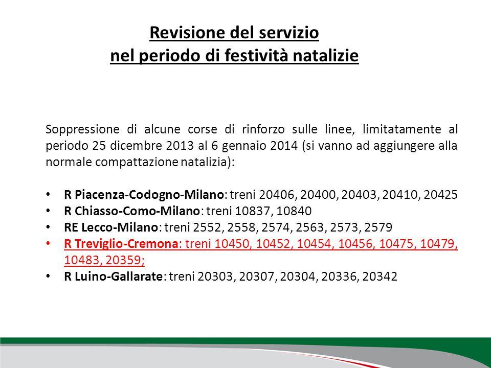 Revisione del servizio nel periodo di festività natalizie Soppressione di alcune corse di rinforzo sulle linee, limitatamente al periodo 25 dicembre 2