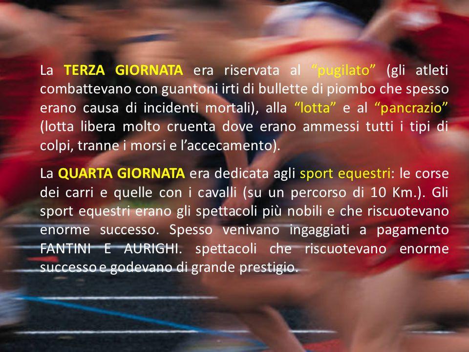 """La TERZA GIORNATA era riservata al """"pugilato"""" (gli atleti combattevano con guantoni irti di bullette di piombo che spesso erano causa di incidenti mor"""