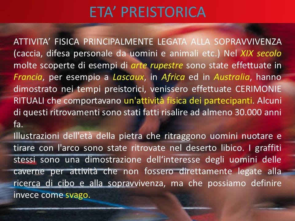ETA' PREISTORICA ATTIVITA' FISICA PRINCIPALMENTE LEGATA ALLA SOPRAVVIVENZA (caccia, difesa personale da uomini e animali etc.) Nel XIX secolo molte sc