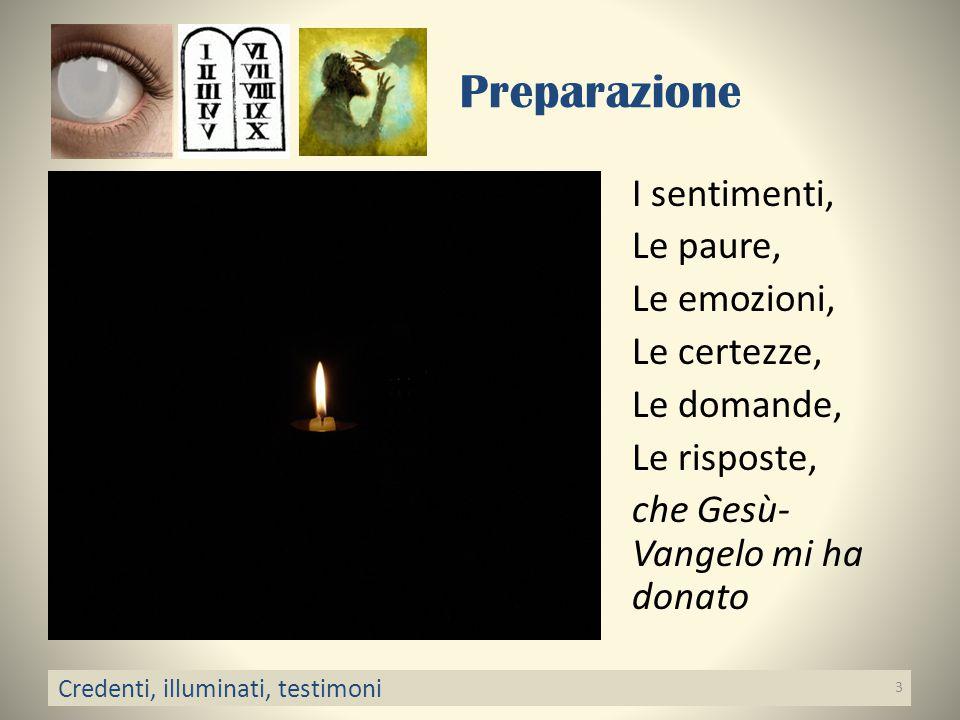 Preparazione I sentimenti, Le paure, Le emozioni, Le certezze, Le domande, Le risposte, che Gesù- Vangelo mi ha donato Credenti, illuminati, testimoni