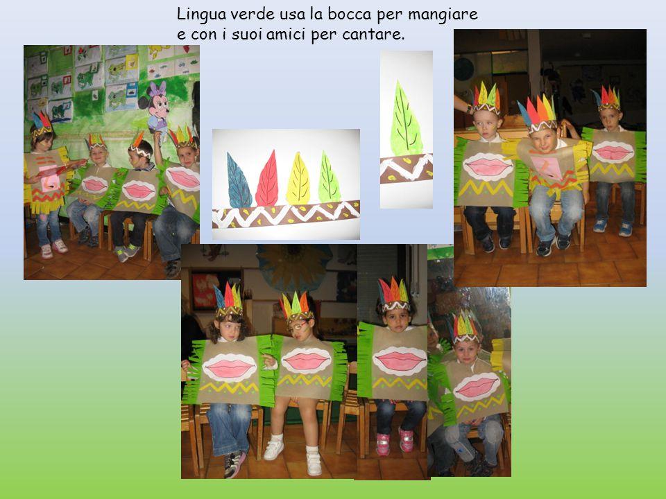 Lingua verde usa la bocca per mangiare e con i suoi amici per cantare.