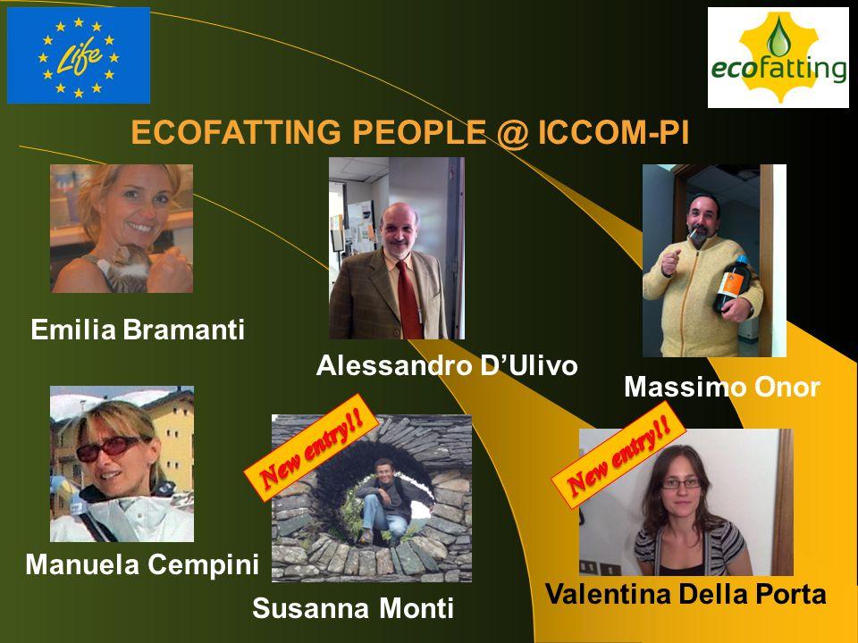ECOFATTING PEOPLE @ ICCOM-PI Emilia Bramanti Alessandro D'Ulivo Massimo Onor Manuela Cempini Valentina Della Porta Susanna Monti