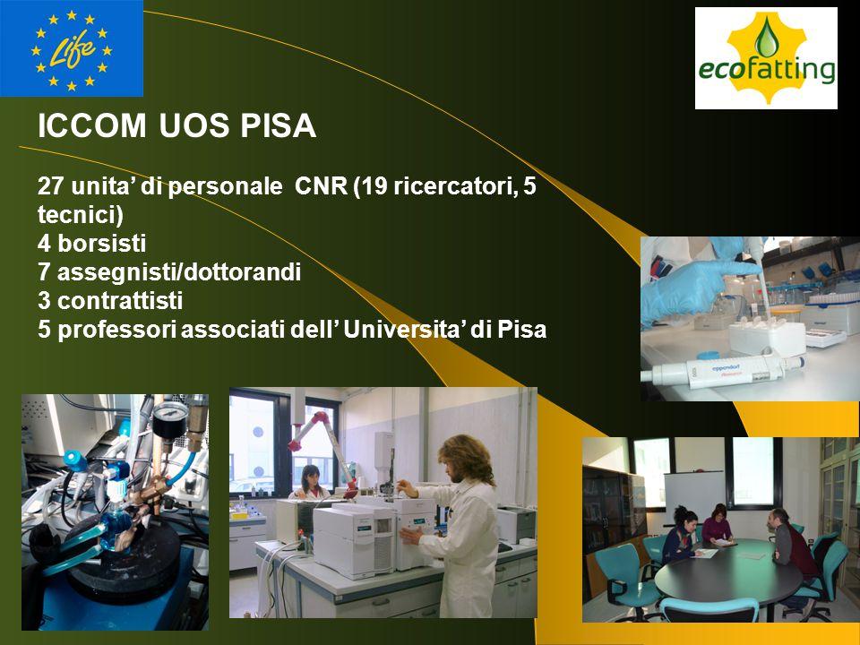 ICCOM UOS PISA 27 unita' di personale CNR (19 ricercatori, 5 tecnici) 4 borsisti 7 assegnisti/dottorandi 3 contrattisti 5 professori associati dell' U