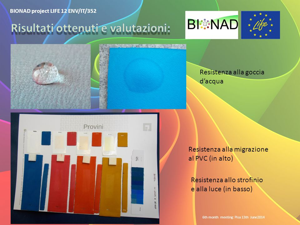 BIONAD project LIFE 12 ENV/IT/352 6th month meeting: Pisa 13th June2014