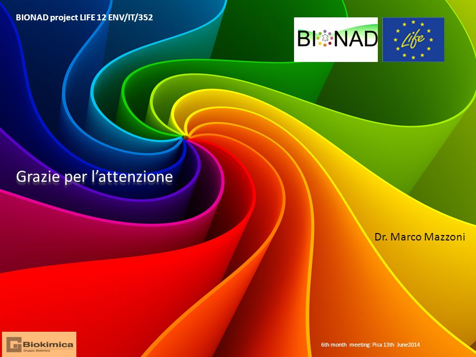 BIONAD project LIFE 12 ENV/IT/352 6th month meeting: Pisa 13th June2014 Grazie per l'attenzione Dr.