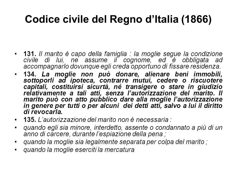Codice civile del Regno d'Italia (1866) 131. Il marito è capo della famiglia : la moglie segue la condizione civile di lui, ne assume il cognome, ed è