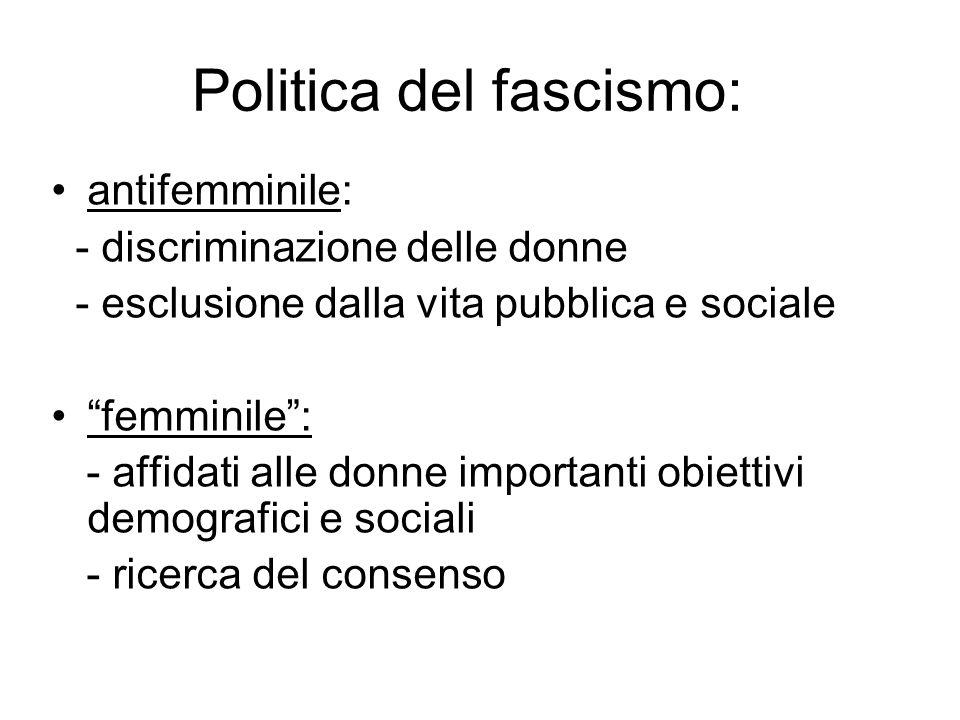 """Politica del fascismo: antifemminile: - discriminazione delle donne - esclusione dalla vita pubblica e sociale """"femminile"""": - affidati alle donne impo"""