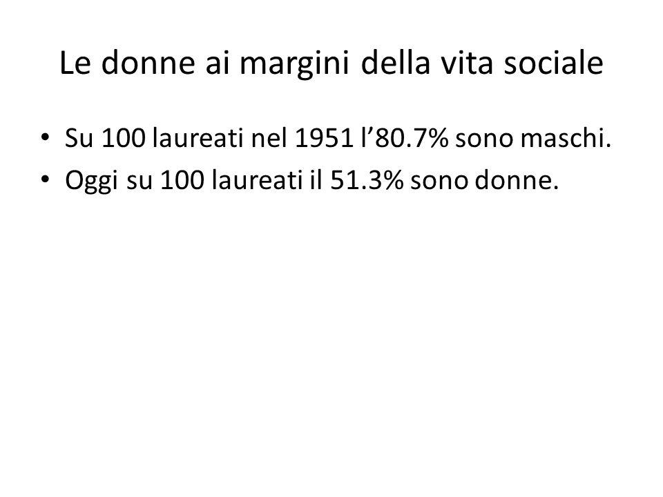 Le donne ai margini della vita sociale Su 100 laureati nel 1951 l'80.7% sono maschi.