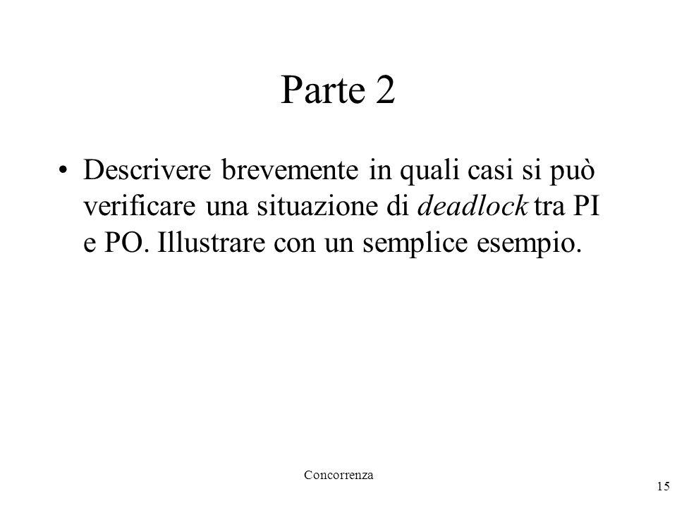 Concorrenza 15 Parte 2 Descrivere brevemente in quali casi si può verificare una situazione di deadlock tra PI e PO.