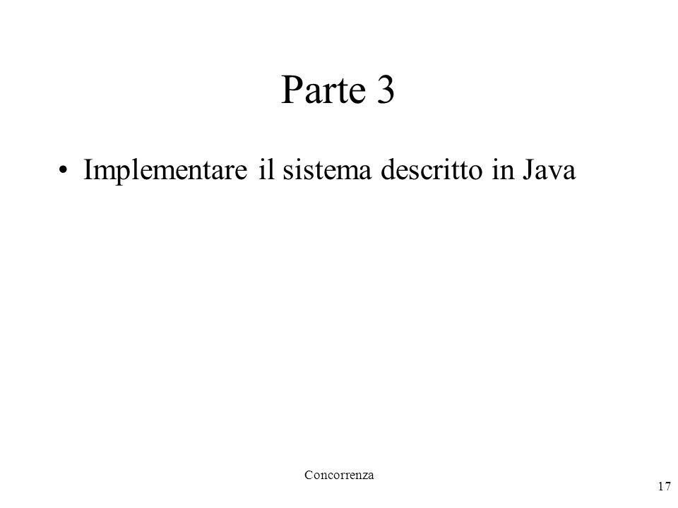 Concorrenza 17 Parte 3 Implementare il sistema descritto in Java