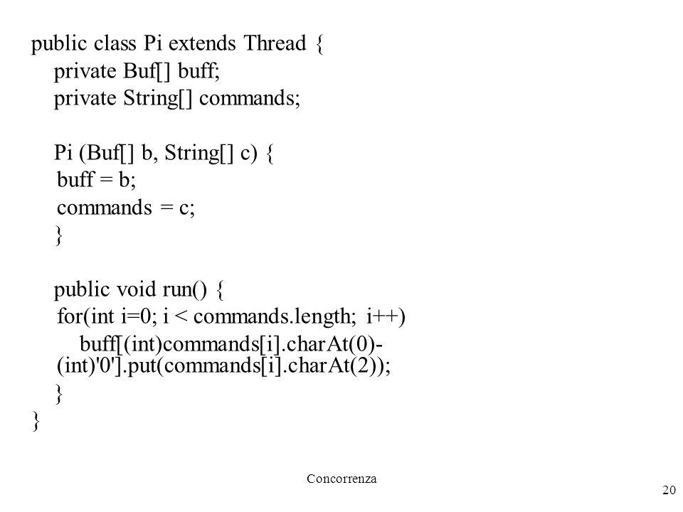 Concorrenza 20 public class Pi extends Thread { private Buf[] buff; private String[] commands; Pi (Buf[] b, String[] c) { buff = b; commands = c; } public void run() { for(int i=0; i < commands.length; i++) buff[(int)commands[i].charAt(0)- (int) 0 ].put(commands[i].charAt(2)); }