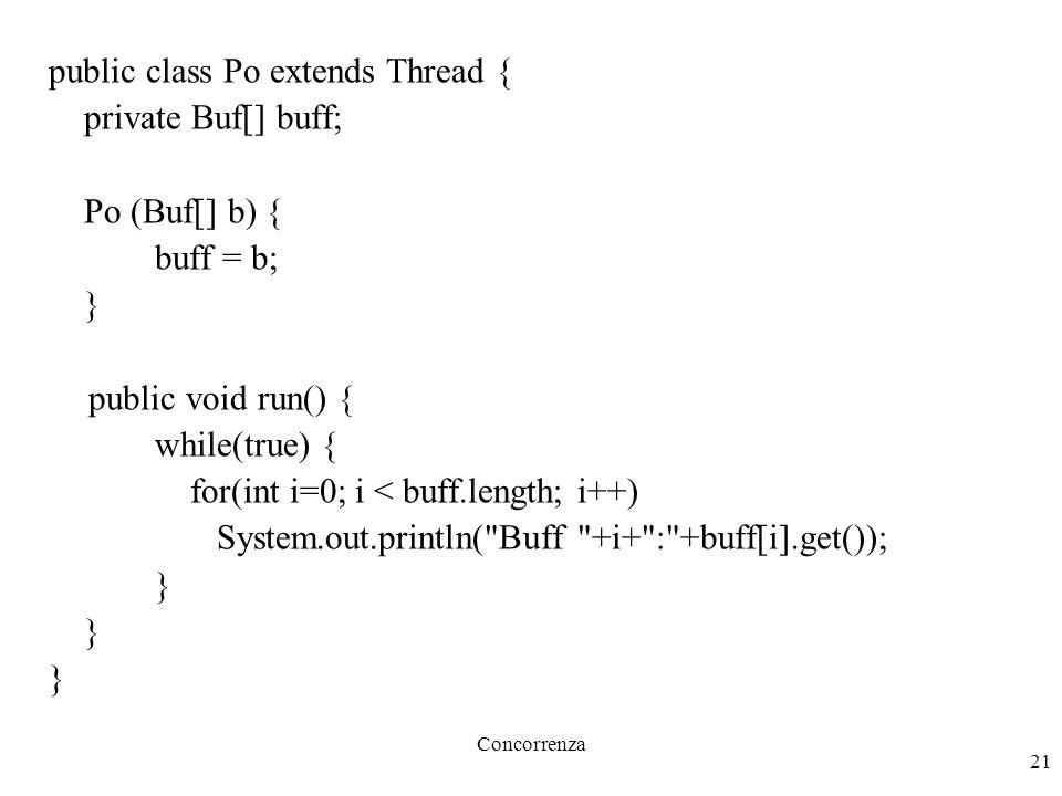 Concorrenza 21 public class Po extends Thread { private Buf[] buff; Po (Buf[] b) { buff = b; } public void run() { while(true) { for(int i=0; i < buff