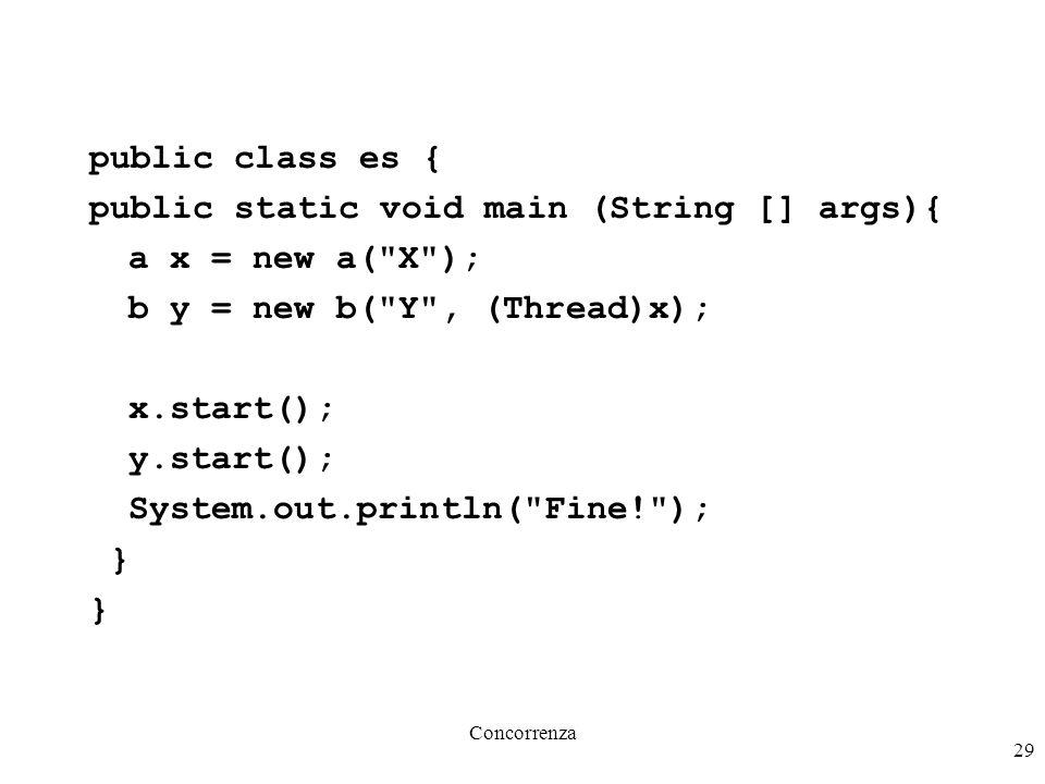 Concorrenza 29 public class es { public static void main (String [] args){ a x = new a(