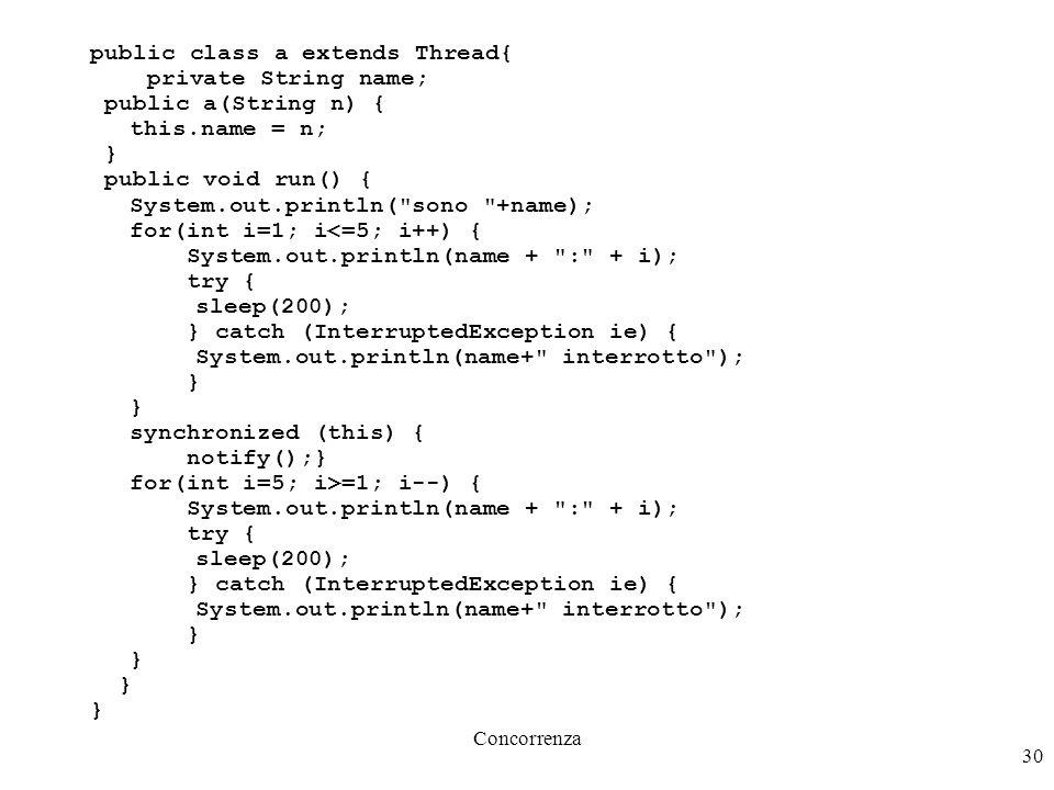 Concorrenza 31 public class b extends Thread{ String name; Thread attendo; public b(String n, Thread a) { this.name = n; this.attendo = a; } public void run() { System.out.println( sono +name); System.out.println(name+ : attendo... ); try { synchronized (attendo) { attendo.wait(); } } catch (InterruptedException ie) { System.out.println(name+ interrotto ); } System.out.println(name+ : ok! ); }