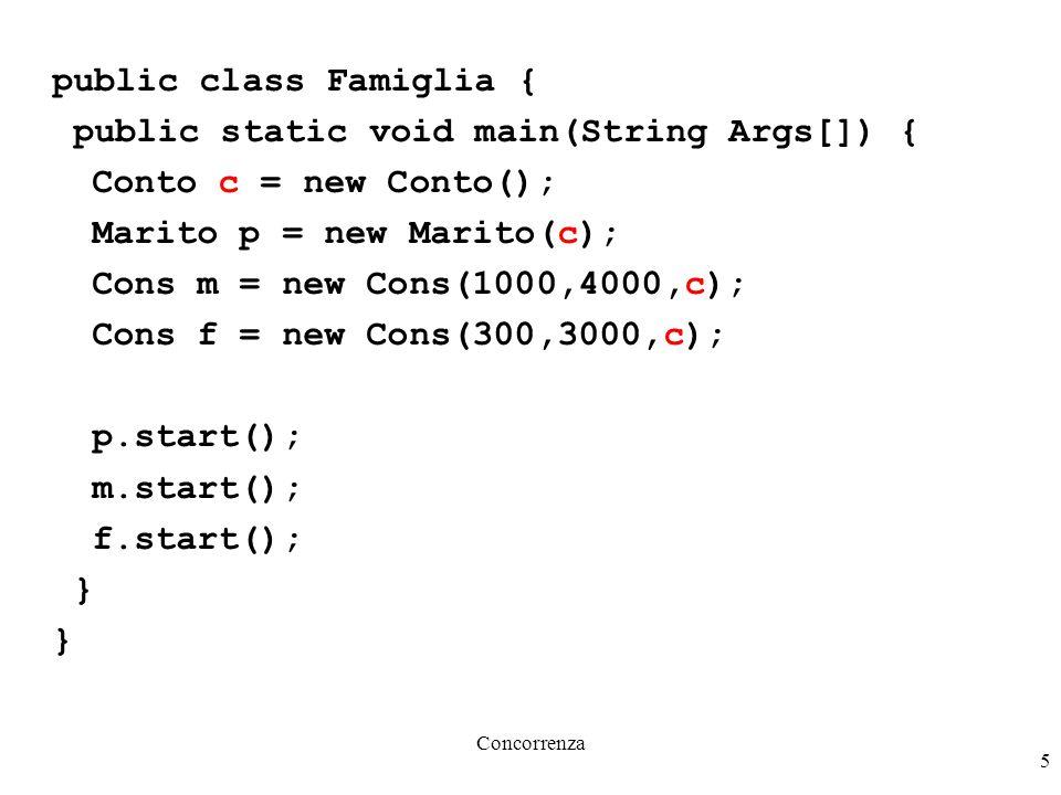 Concorrenza 5 public class Famiglia { public static void main(String Args[]) { Conto c = new Conto(); Marito p = new Marito(c); Cons m = new Cons(1000,4000,c); Cons f = new Cons(300,3000,c); p.start(); m.start(); f.start(); }